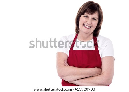 Pretty baker woman posing with confidence arms folded