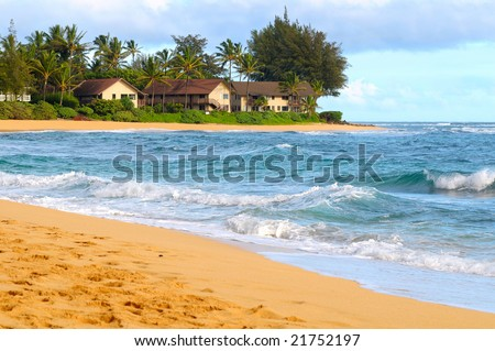 Pretty beach with condos on the north shore of Kauai, Hawaii