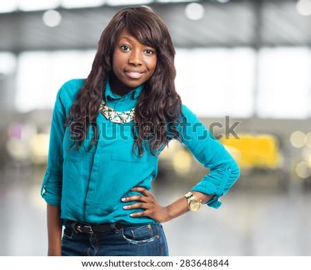pretty black woman posing - stock photo