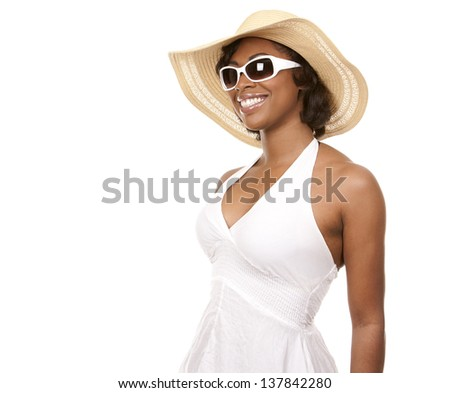 pretty black woman wearing white summer outfit on white background - stock photo