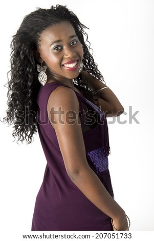 Pretty Black woman with gorgeous hair smiling