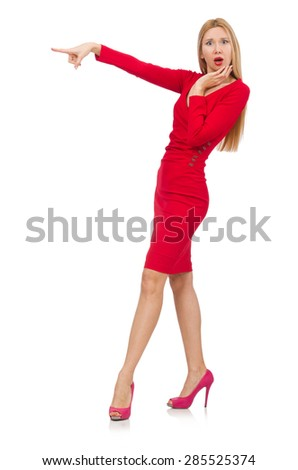 Pretty blond lady in red dress isolated on white - stock photo