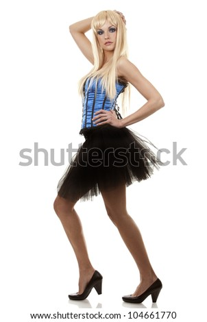 pretty blond woman wearing corset and black skirt on white background