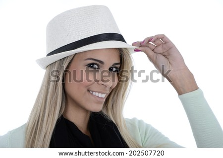 Pretty blond woman with a hat