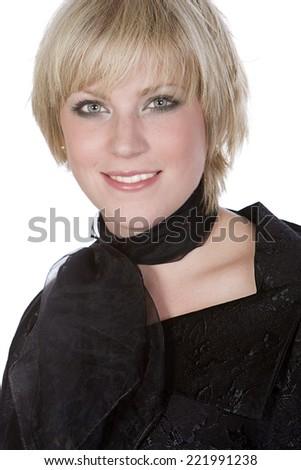 Pretty Blonde Girl against White - stock photo