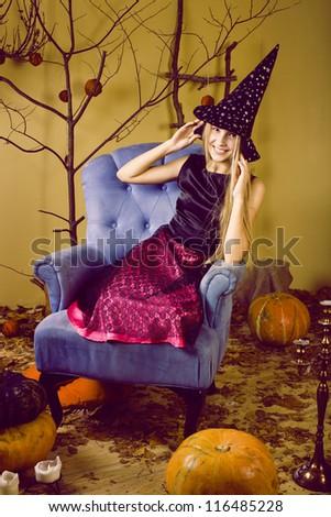 pretty blonde girl selebrating halloween - stock photo
