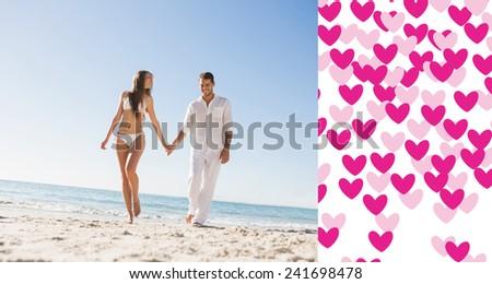 Pretty blonde holding hands with handsome boyfriend against valentines day pattern - stock photo