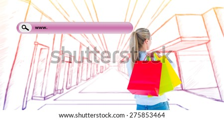 Pretty blonde holding shopping bags against search engine - stock photo