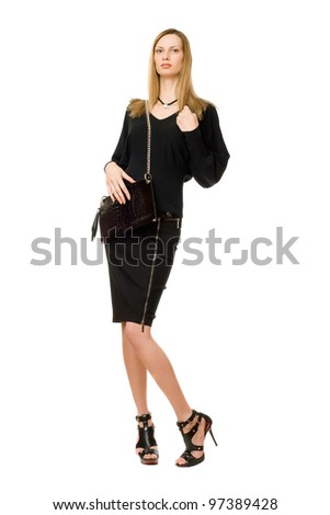 Pretty blonde in black with the purse - stock photo