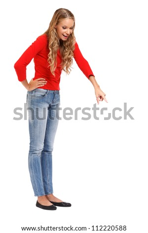 pretty blonde lady posing on white background - stock photo