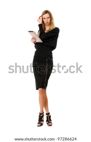 Pretty blonde young woman with the glasses - stock photo