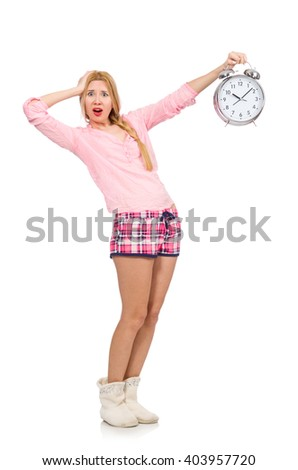 Pretty blondie girl holding alarm-clock isolated on white - stock photo