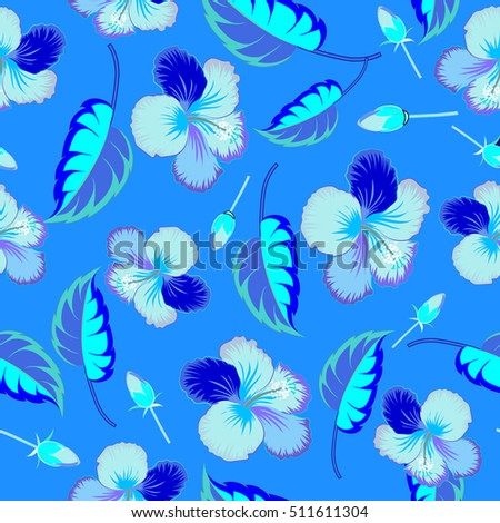 Pretty blue floral print. Motley seamless pattern. Hibiscus flower background.