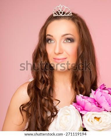 Pretty bride in studio - stock photo
