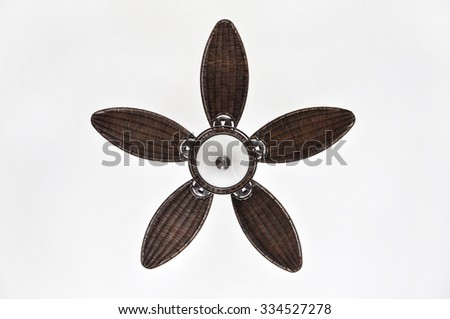 Pretty brown wicker tropical ceiling fan with light
