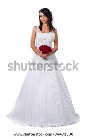 pretty brunette bride wearing wedding gown with flowers  isolated on white background - stock photo
