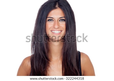 Pretty brunette girl isolated on a white background - stock photo