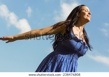Pretty brunette in blue dress feeling free on a sunny day - stock photo
