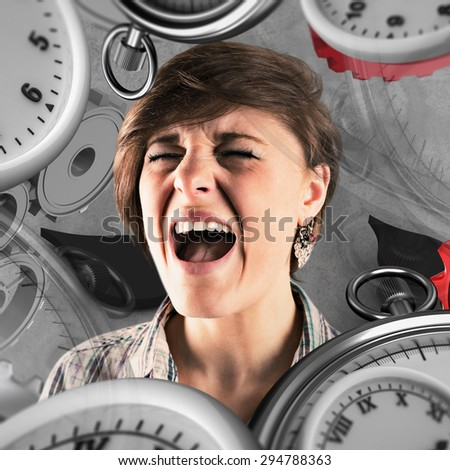 Pretty brunette shouting against grey background