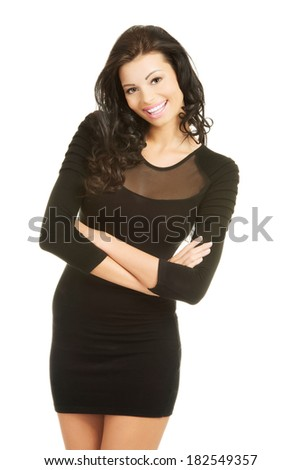 Pretty brunette woman wearing dress