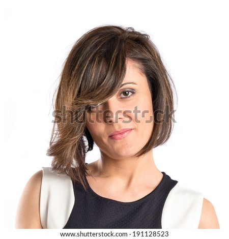 Pretty brunette woman with black dress over white background