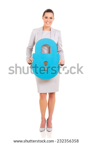 pretty business executive presenting paper lock on white background - stock photo