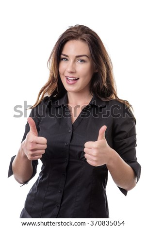 Pretty business model giving the thumbs up gesture - stock photo