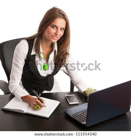 Pretty business secretary woman working in office isolated over white background