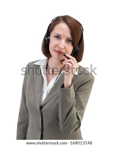Pretty business woman in gray suit with earphones isolated on white background - stock photo