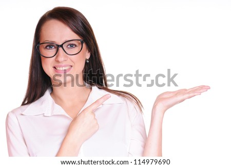 Pretty business woman over white background