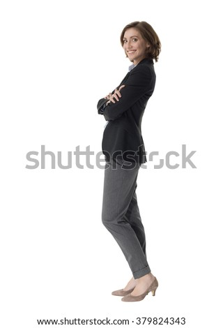 Pretty business woman portrait isolated on white background