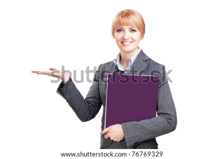 Pretty business woman showing something on her palm