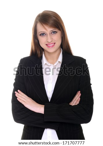 Pretty businesswoman posing over white background