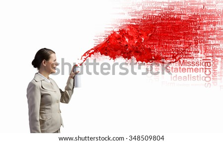 Pretty businesswoman spraying red speech cloud from container