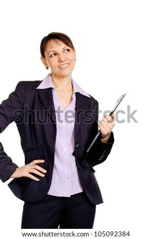 Pretty Caucasian business female standing with staff on a white background