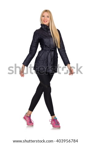 Pretty caucasian girl wearing sporty style isolated on white - stock photo