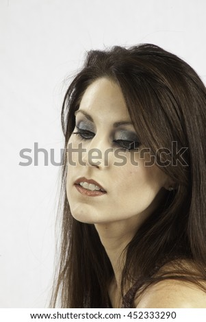 Pretty Caucasian woman   with a serious expression