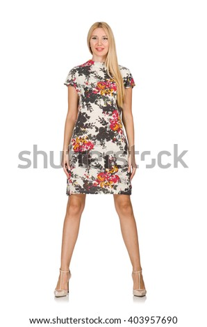 Pretty caucasian young woman wearing dress with flowers isolated - stock photo