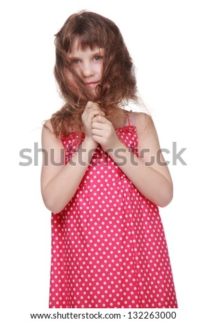 Pretty cheerful girl with long hair in a summer dress on Beauty and Fashion