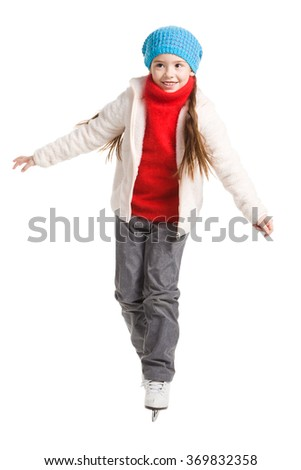 pretty cheerful little girl in thermal suits skating, isolated on white - stock photo