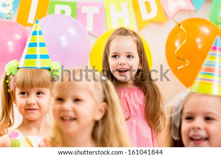 pretty children on birthday party - stock photo