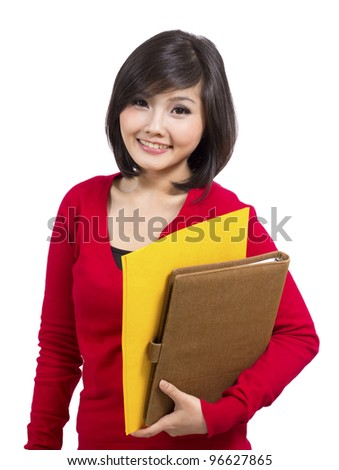 pretty college girl holding folder - stock photo