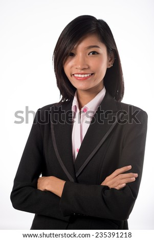 Pretty confident business lady looking at the camera