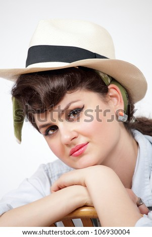 Pretty country girl a face closeup with hat