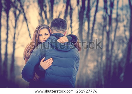 Pretty Couple Outdoor Nature On Background Stock Photo Edit Now