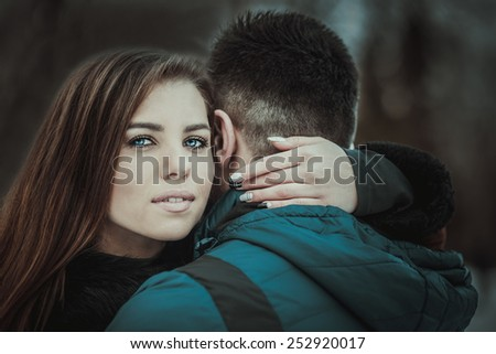 Pretty couple outdoor with nature on background