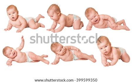 pretty crawling baby isolated on white. Infant child  toddler sitting - stock photo