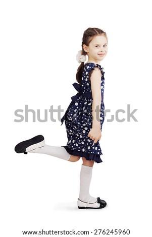 Pretty cute girl wearing the dark blue dress - stock photo