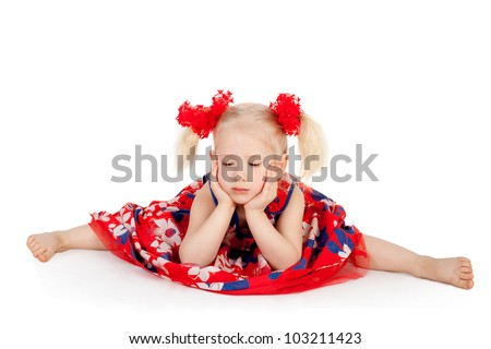 pretty cute sweet little girl doing the splits