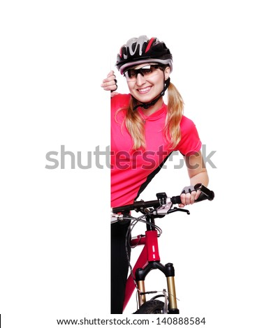 pretty cyclist girl holding the vertical blank board on white background and the red  bicycle - stock photo